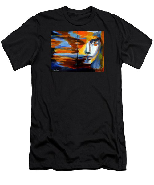 Men's T-Shirt (Slim Fit) featuring the painting Transition - Diptic by Helena Wierzbicki