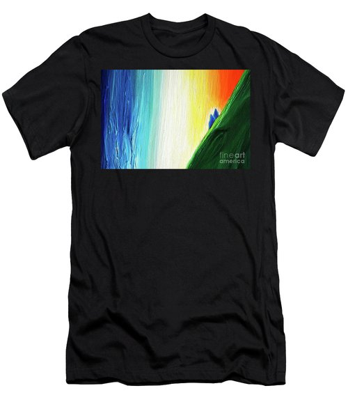 Men's T-Shirt (Slim Fit) featuring the painting Travelers Rainbow Waterfall Detail by First Star Art