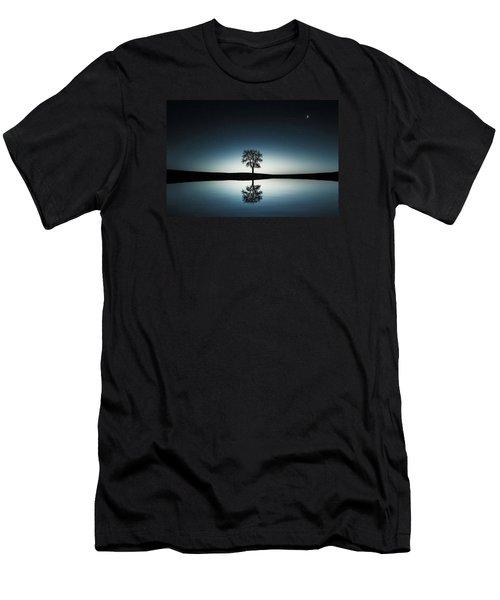 Tree Near Lake At Night Men's T-Shirt (Slim Fit) by Bess Hamiti