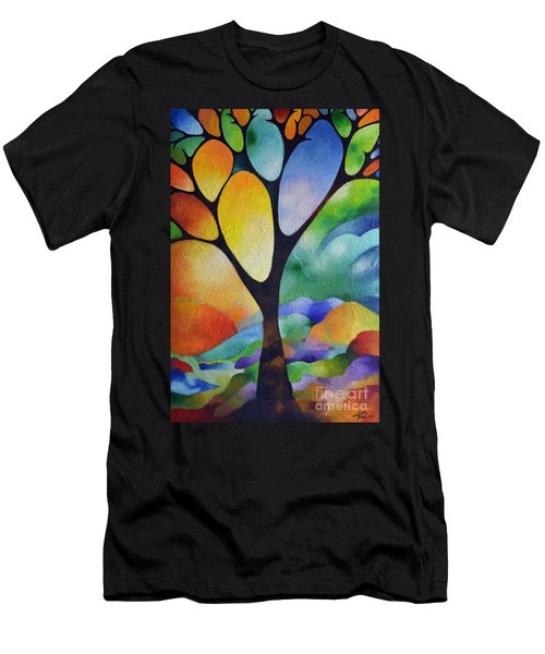 Tree Of Joy Men's T-Shirt (Slim Fit) by Sally Trace