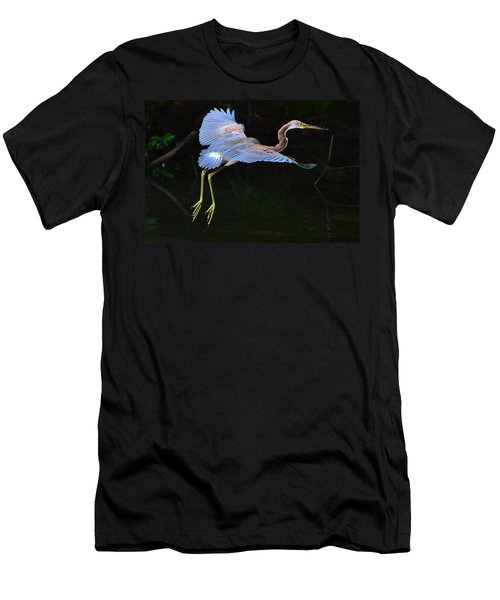 Tricolored Heron Men's T-Shirt (Slim Fit) by Charlotte Schafer
