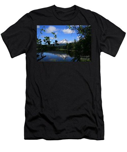 Trillium Lake With Mt. Hood  Men's T-Shirt (Athletic Fit)