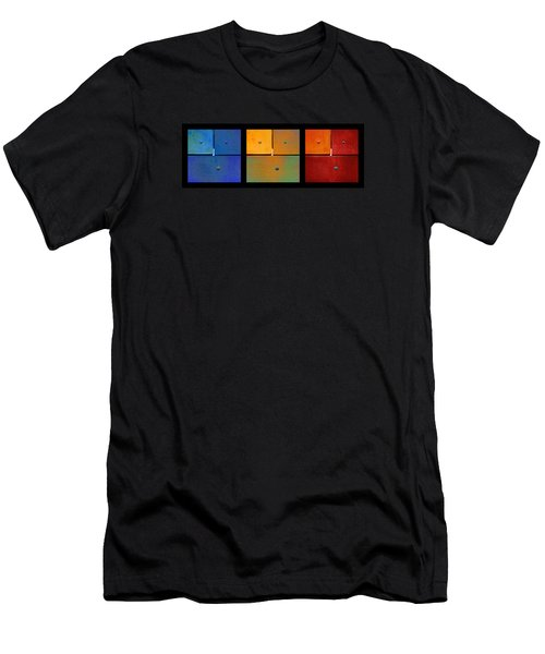 Men's T-Shirt (Slim Fit) featuring the photograph Triptych Blue Green Red - Colorful Rust by Menega Sabidussi