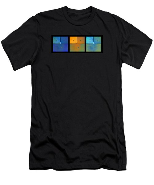 Men's T-Shirt (Slim Fit) featuring the photograph Triptych Blue Orange Cyan - Colorful Rust by Menega Sabidussi
