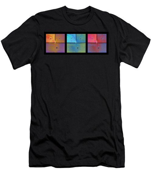 Men's T-Shirt (Slim Fit) featuring the photograph Triptych Gold Cyan Magenta - Colorful Rust by Menega Sabidussi