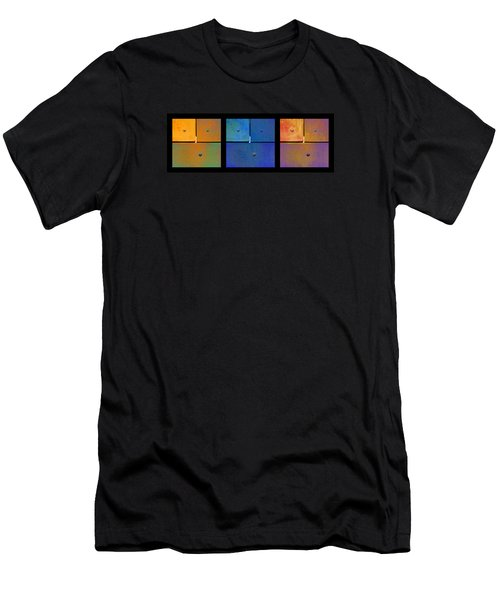 Men's T-Shirt (Slim Fit) featuring the photograph Triptych Orange Blue Gold - Colorful Rust by Menega Sabidussi
