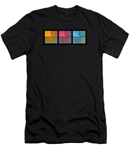 Men's T-Shirt (Slim Fit) featuring the photograph Triptych Orange Magenta Cyan - Colorful Rust by Menega Sabidussi