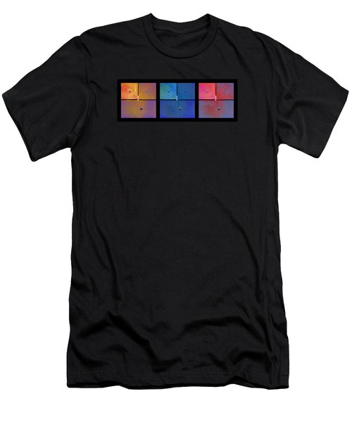Men's T-Shirt (Slim Fit) featuring the digital art Triptych Gold Blue Magenta - Colorful Rust by Menega Sabidussi
