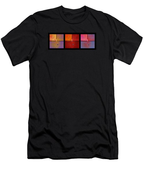 Men's T-Shirt (Slim Fit) featuring the photograph Triptych Purple Red Magenta - Colorful Rust by Menega Sabidussi