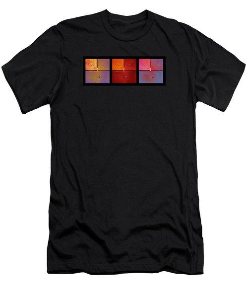 Triptych Purple Red Magenta - Colorful Rust Men's T-Shirt (Slim Fit) by Menega Sabidussi