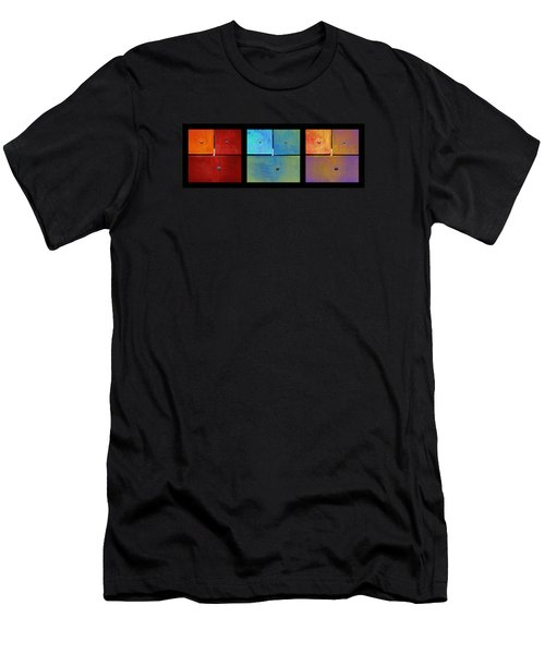 Men's T-Shirt (Slim Fit) featuring the photograph Triptych Red Cyan Purple - Colorful Rust by Menega Sabidussi