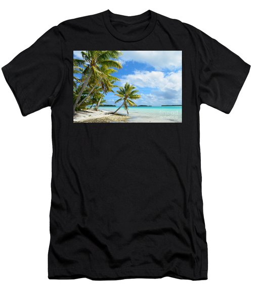 Tropical Beach With Hanging Palm Trees In The Pacific Men's T-Shirt (Athletic Fit)