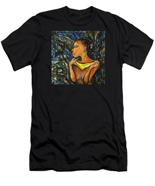 Men's T-Shirt (Slim Fit) featuring the painting Tropical Shower by Xueling Zou