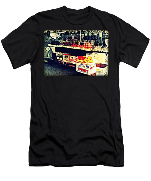 Men's T-Shirt (Slim Fit) featuring the photograph Vintage Outdoor Fruit And Vegetable Stand - Markets Of New York City by Miriam Danar