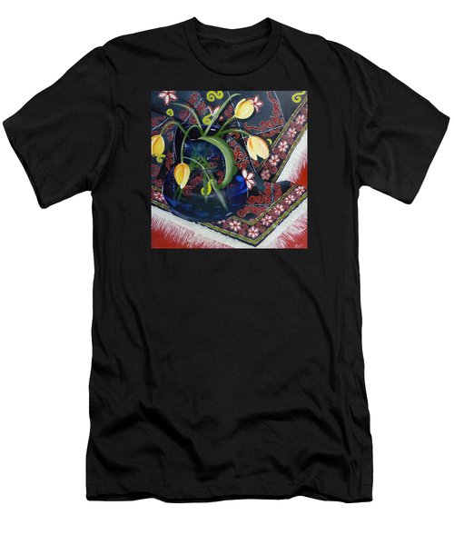 Tulips Men's T-Shirt (Slim Fit) by Helen Syron
