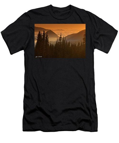 Tumtum Peak At Sunset Men's T-Shirt (Slim Fit) by Jeff Goulden