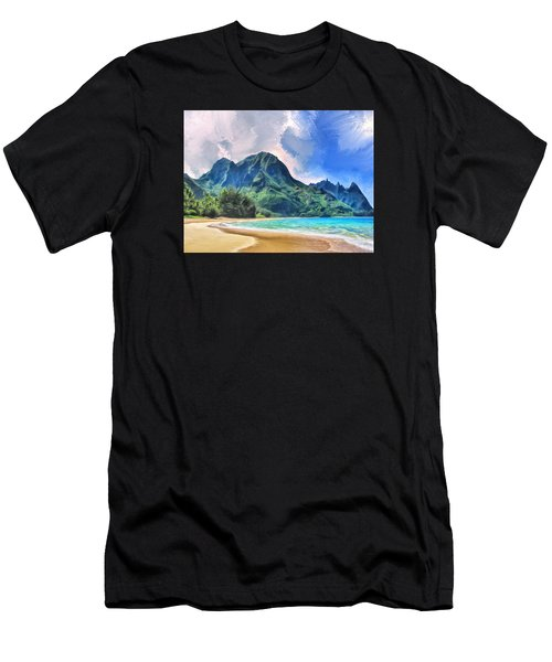 Tunnels Beach Kauai Men's T-Shirt (Athletic Fit)