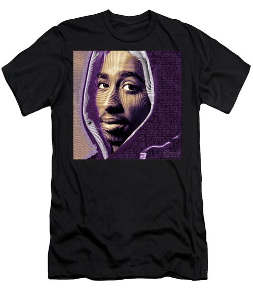 Tupac Shakur And Lyrics Men's T-Shirt (Athletic Fit)
