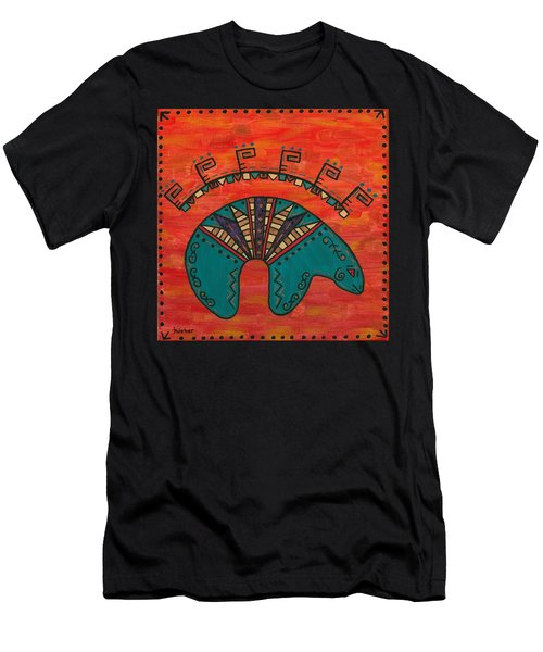 Men's T-Shirt (Slim Fit) featuring the painting Turquoise Oso Bear Fetish by Susie WEBER