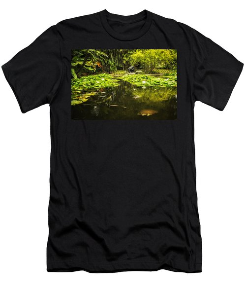 Turtle In A Lily Pond Men's T-Shirt (Slim Fit) by Belinda Greb