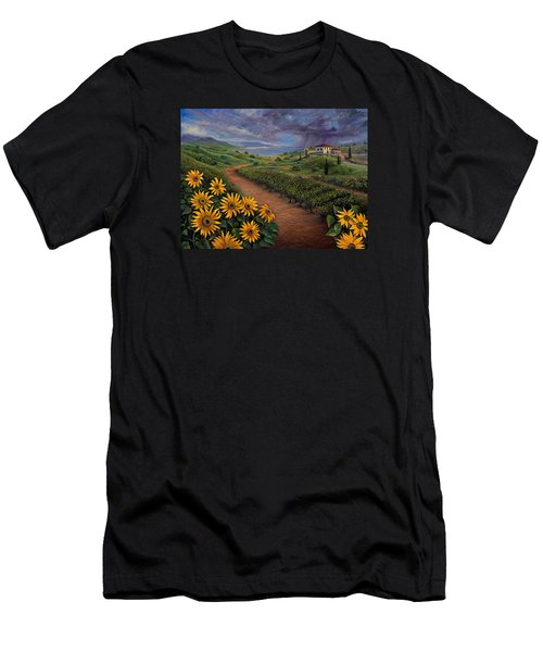 Tuscan Landscape Men's T-Shirt (Slim Fit) by Claudia Goodell