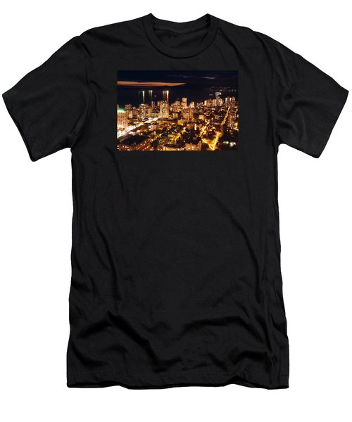 Men's T-Shirt (Slim Fit) featuring the photograph Twilight English Bay Vancouver Mdlxvii by Amyn Nasser