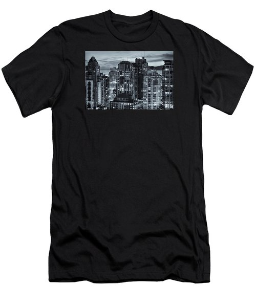 Men's T-Shirt (Slim Fit) featuring the photograph Twilight On Cityscape Of Vancouver Overlooking English Bay - Greeting Card by Amyn Nasser