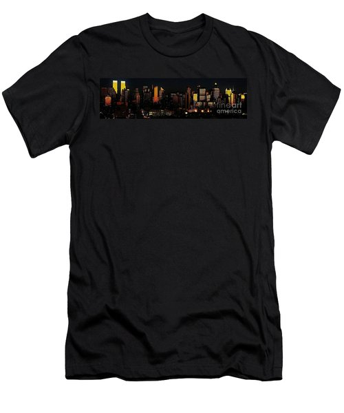 Men's T-Shirt (Slim Fit) featuring the photograph Twilight Reflections On New York City by Lilliana Mendez