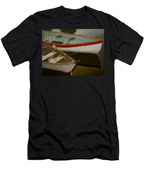 Men's T-Shirt (Slim Fit) featuring the painting Two Boats by Thu Nguyen