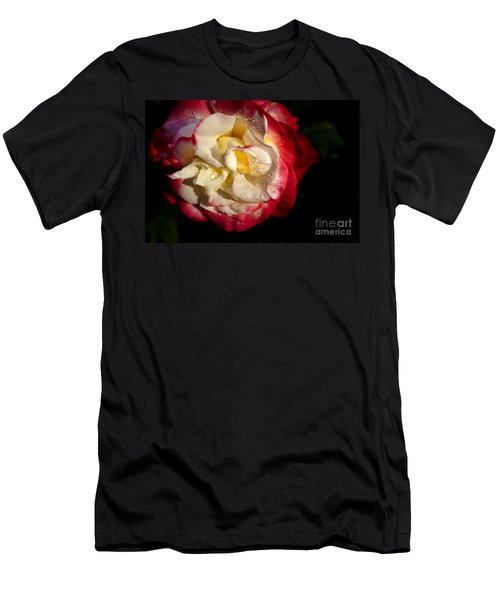 Men's T-Shirt (Slim Fit) featuring the photograph Two Color Rose by David Millenheft