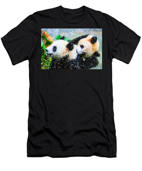 Men's T-Shirt (Slim Fit) featuring the digital art Two Cute Panda by Lanjee Chee