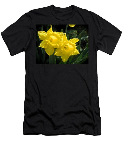 Two Daffodils Men's T-Shirt (Slim Fit) by Kathy Barney