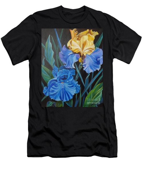 Men's T-Shirt (Slim Fit) featuring the painting Two Fancy Iris by Jenny Lee