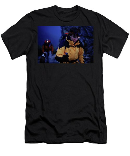 Two Hikers Climbing A Mountain Men's T-Shirt (Athletic Fit)