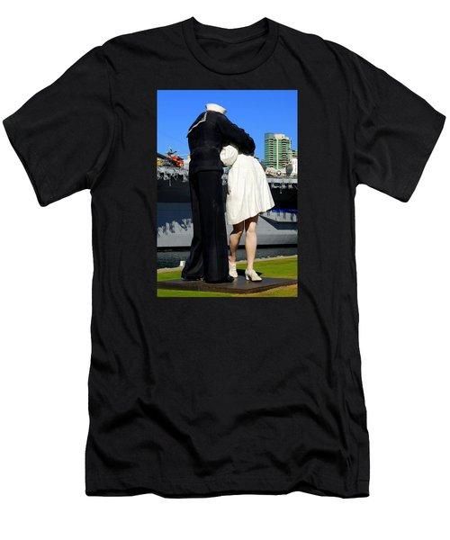 Unconditional Surrender Kiss Men's T-Shirt (Slim Fit) by Caroline Stella