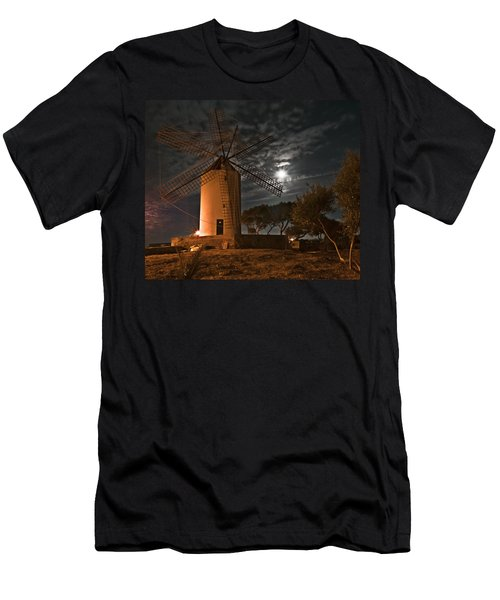 Vintage Windmill In Es Castell Villacarlos George Town In Minorca -  Under The Moonlight Men's T-Shirt (Slim Fit) by Pedro Cardona