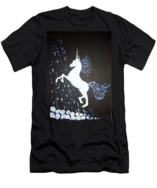 Unicorn Takes A Shower Men's T-Shirt (Slim Fit) by Veronica Rickard
