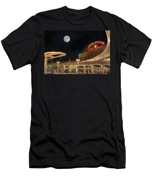 Union Station Denver Under A Full Moon Men's T-Shirt (Slim Fit) by Juli Scalzi