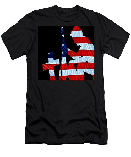 A Time To Remember United States Flag With Kneeling Soldier Silhouette Men's T-Shirt (Slim Fit) by Bob Orsillo
