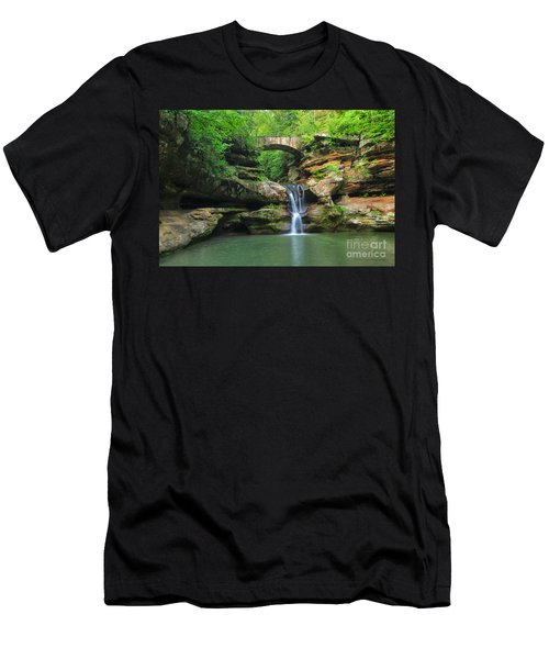 D10a-113 Upper Falls At Old Mans Cave Hocking Hills Photo Men's T-Shirt (Athletic Fit)