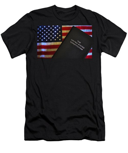 United States Constitution And Flag Men's T-Shirt (Slim Fit) by Ron White