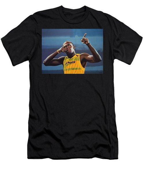 Usain Bolt Painting Men's T-Shirt (Athletic Fit)