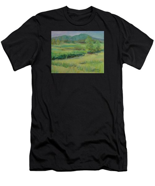 Valley Ranch Rural Western Landscape Painting Oregon Art  Men's T-Shirt (Athletic Fit)