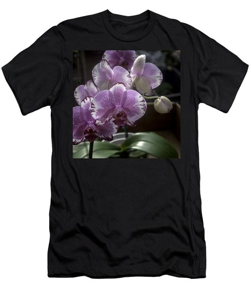 Variegated Fuscia And White Orchid Men's T-Shirt (Slim Fit) by Lynn Palmer