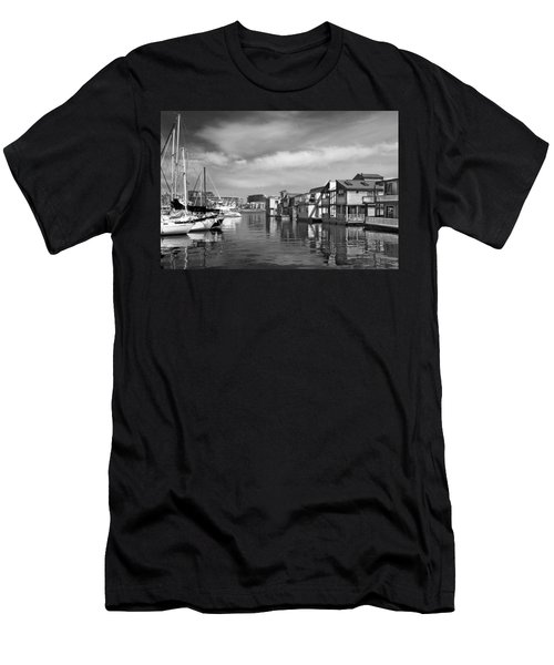 Veiw Of Marina In Victoria British Columbia Black And White Men's T-Shirt (Athletic Fit)