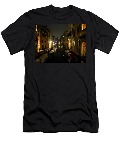 Venice At Night Men's T-Shirt (Slim Fit) by Silvia Bruno