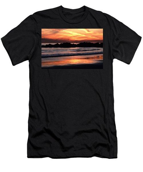 Men's T-Shirt (Slim Fit) featuring the photograph Venice Beach Breaker Orange Yellow Sunset by Tom Wurl