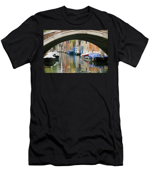 Men's T-Shirt (Slim Fit) featuring the photograph Venice Canal Boat by Silvia Bruno