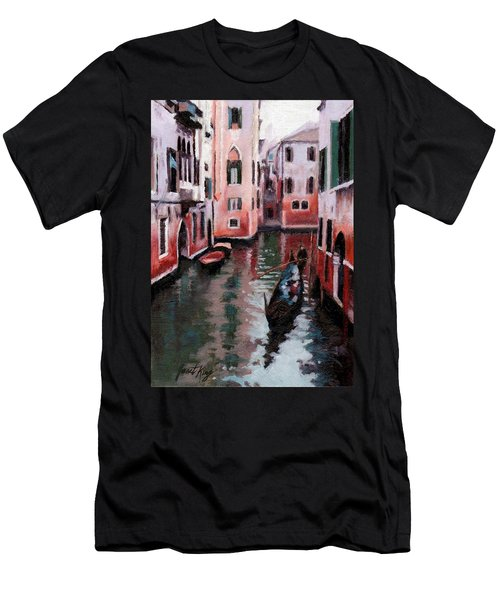 Men's T-Shirt (Slim Fit) featuring the painting Venice Gondola Ride by Janet King