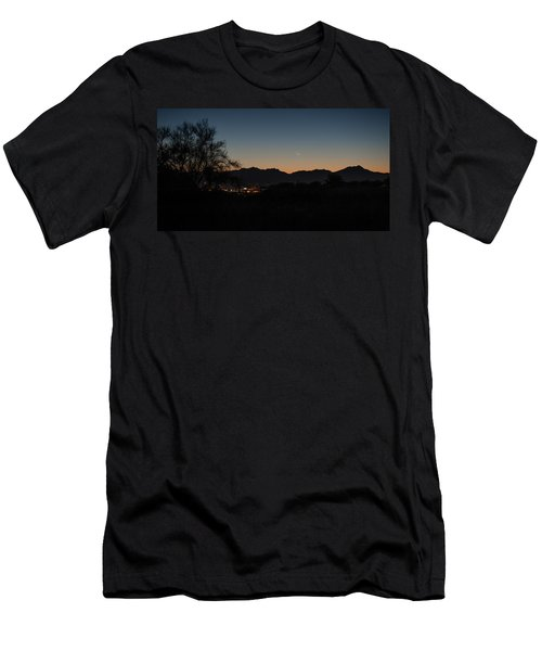 Men's T-Shirt (Slim Fit) featuring the photograph Venus And A Young Moon Over Tucson by Dan McManus